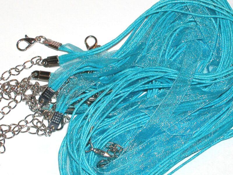 2pc Double silk Ribbon Cord Necklaces Lobster pendant charm clasp AQUA Bl COLOR