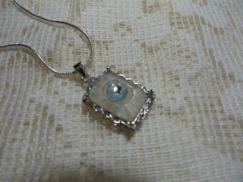 HANDMADE VINTAGE SUNRAY CRYSTAL FROSTED CAMPHOR GLASS  SMALL STERLING SILVER