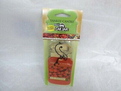 3 Yankee Candle Classic Paper Car Jar Air Freshener Strawberry Kiwi Black Cherry