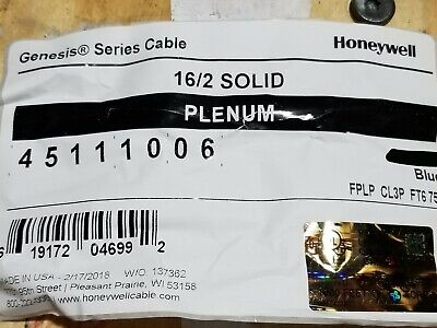 Honeywell Genesis Cable 4511 162c Solid Plenum Fire Alarm Wire Fplp Blue 100ft
