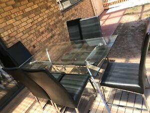 7 Piece Glass Top Dining Table
