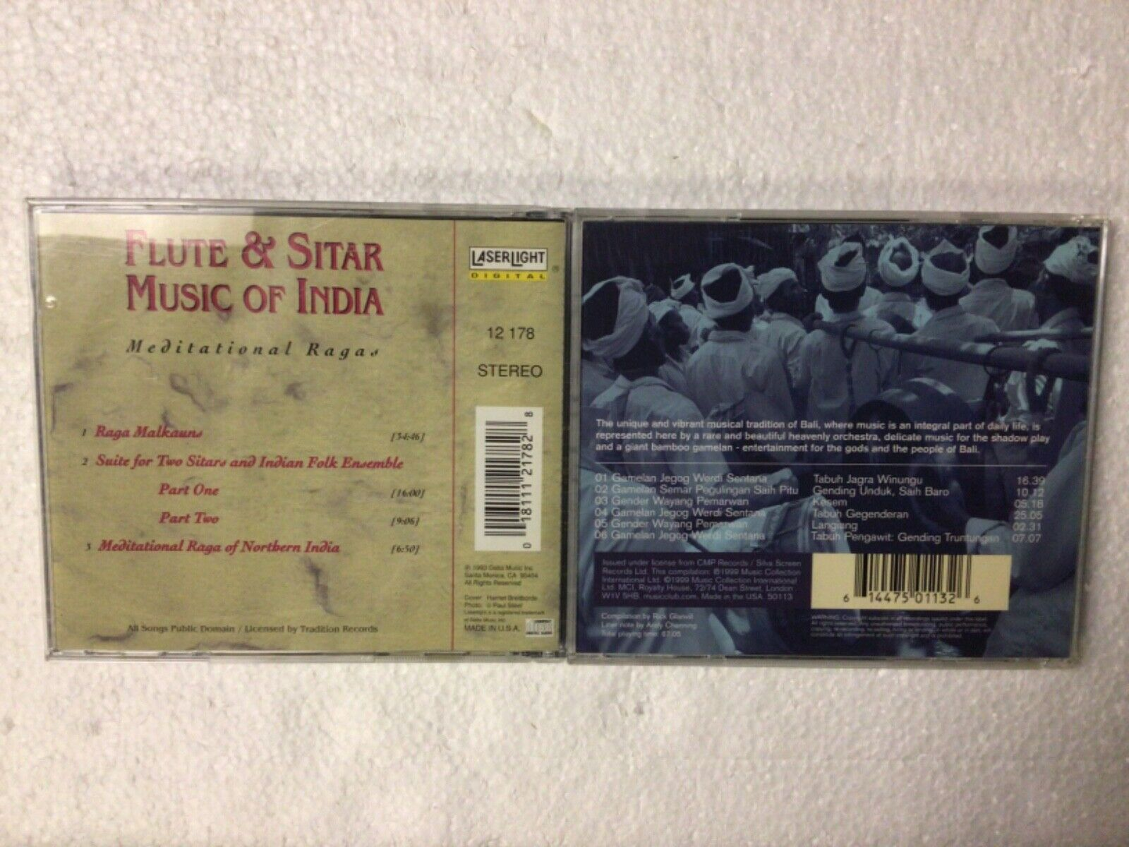 WORLD MUSIC 2 CD LOT - FLUTE AND SITAR MUSIC OF INDIA GAMELAN MUSIC OF BALI - $7.99