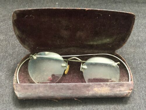 Vintage Antique BIFOCAL EYEGLASSES w/ Case