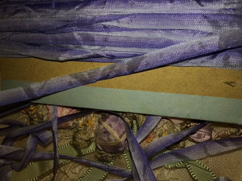 6.7 Yards  ANTIQUE VINTAGE French PURPLE Ombre Ribbon Trim 5/16""