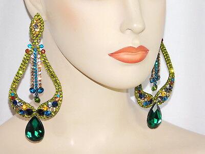 MULTI COLOR RHINESTONE CRYSTAL LONG CHANDELIER EARRINGS /7190 Multi Crystal Chandelier Earrings