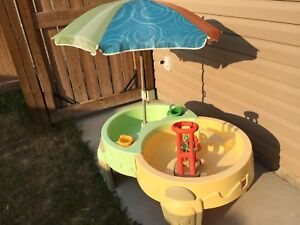 Large toy water table with umbrellas