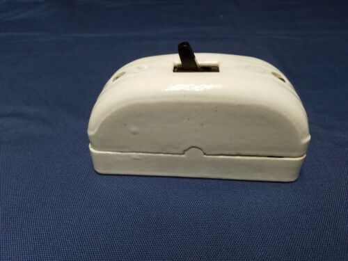 Vintage Porcelain Wall Mount Light Switch and Cover Works