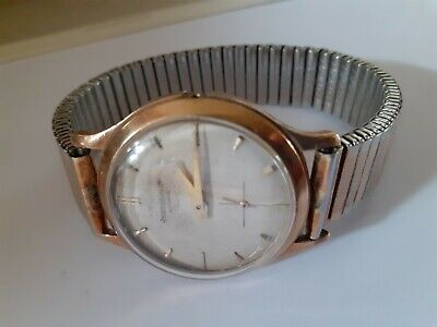 JAEGER-LECOULTRE 9ct Gold Cased Gents Wristwatch With Plated Expanding Bracelet
