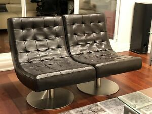 Structube Leather Swivel Chairs - Reg $1400