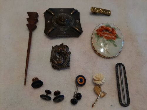 Vintage Lot of Victorian buckles and Brooch