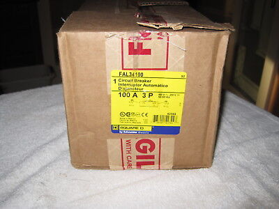 Square D Fal34100 100 Amp 3 Pole 480 Volt Circuit Breaker New In Box