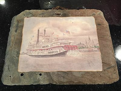 VINTAGE RIVERBOAT NATCHEZ IX PRINT NEW ORLEANS ON SLATE ARCHIE BOYD SIGNED