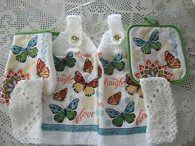 6-PC. HANGING KITCHEN TOWELS *BUTTERFLIES *GREAT GIFT*CROCHETED WHITE TOPS *