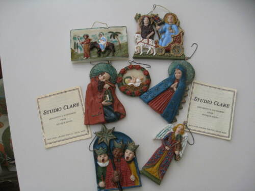 RARE Studio CLARE Lot of 7 Wax Ornaments From Antique Molds w/ Paper Booklet
