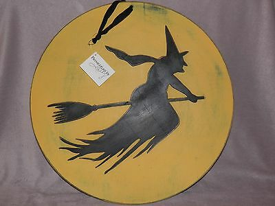 Halloween Witch Flying In Moon Silhouette Wall Hanging Primitives by Kathy - Halloween Witch Silhouette