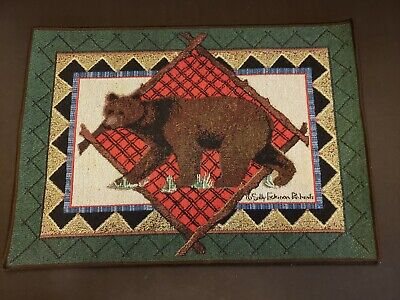 Sally Eckman Roberts Adirondack Tapestry Placemats Set Of 4 Bear Lodge Cabin  Lodge Tapestry Placemat