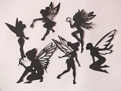 9 ASS BLACK TOOTH FAIRY FAIRIES CASTLE DIE CUT TINKERBELL SILHOUETTE  any - Tinkerbell Tooth Fairy