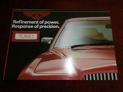 Bentley 1984-85 UK Foldout Poster Brochure Eight Turbo R Continental.   MINT