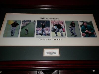 """PHIL MICKELSON 2004 AUGUSTA MASTERS CHAMPION 37.25""""x22""""  6 PHOTOS FRAMED"""