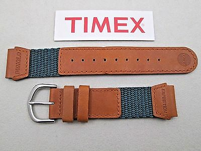 Genuine Timex Expedition watch band strap teal green nylon tan W.R. leather 19mm