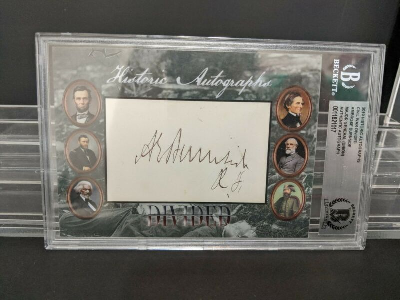 Rare Civil War divided Autograph - General AMBROSE BURNSIDE historic autographs