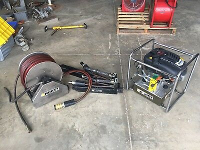 Hurst Jaws Of Life 5000 Psi Gas Power Packs With Hose Reel And Two Hydrualic Ram