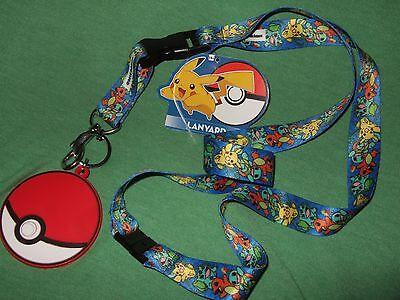 Nwt Pokemon Pikachu Charmander Squirtle Keychain Lanyard & Rubber Pokeball Charm