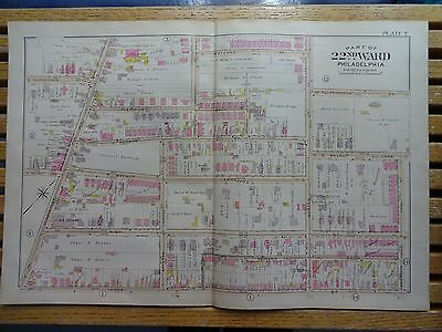 1899 Map of Philadelphia - RARE - 22nd Ward - Germantown Ave to Morton St