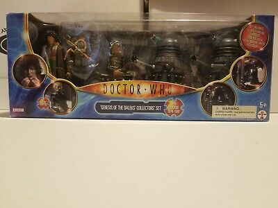 """DOCTOR WHO GENESIS OF THE DALEKS COLLECTORS SET 5"""" ACTION FIGURES RARE BBC NIP"""