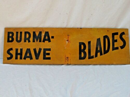 """3 Antique Burma Shave Wooden Road Signs Yellow and Black 1941  40"""" x 12"""""""