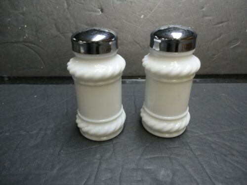 Vintage White Milk Glass Apothecary with Rope Design Salt & Pepper Shaker Set
