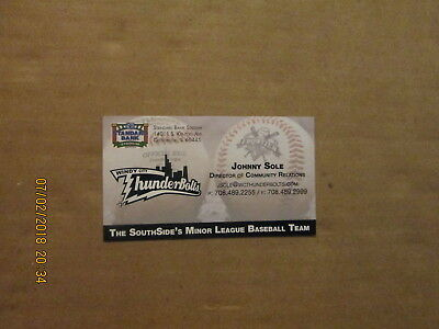Windy City Thunderbolts Johnny Sole Community Relations Baseball Business Card - Windy City Sole