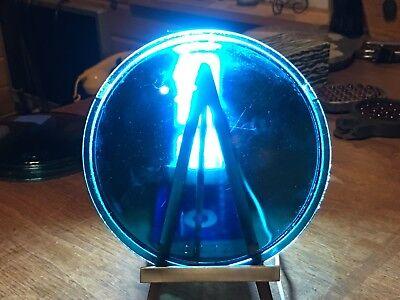 "LQQK! Vintage DIETZ Light BLUE Green GLASS Lens 5-3/4"" CaR TrucK OLD Train RR #2"