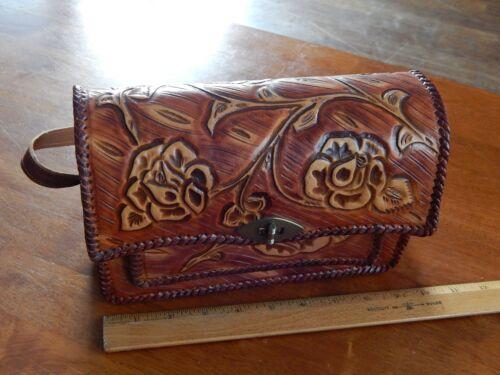 Hand Tooled Leather (Mexico) Vtg Travel Souvenir ~ Floral Satchel Shoulder Bag ~