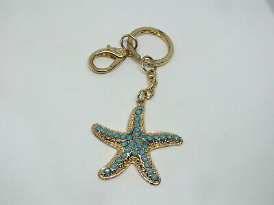 - Collectible Key Chain Clip Gold Tone Turquoise Rhinestones Starfish Shape 6