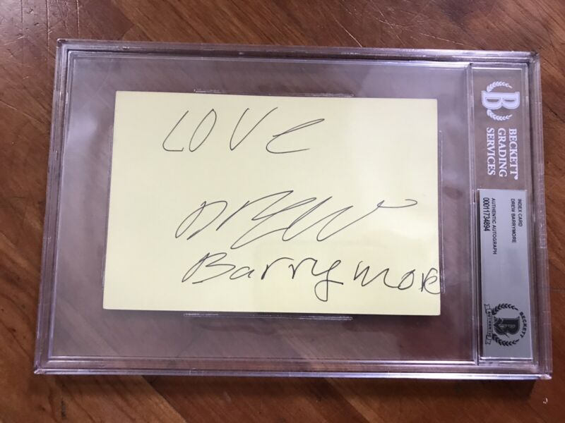 Drew Barrymore Signed Index Card Beckett Slabbed