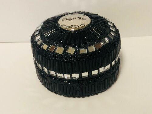 "Prayer Box, Decorative Black Sequins Round Box, 2.5"",   New"