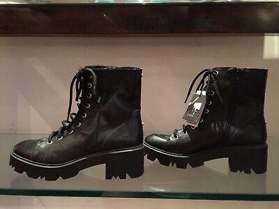 Lug Sole Leather (Zara black leather lug sole biker Moto  boots sz 37 US 6 1/2 NWT $129 3 way! )