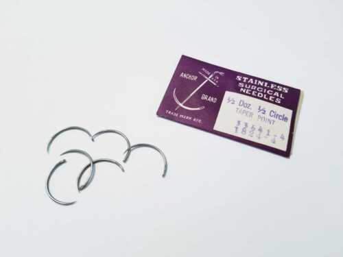 6 Suture Needles Veterinary Surgical 1/2 Circle Taper Point Stainless USA MADE