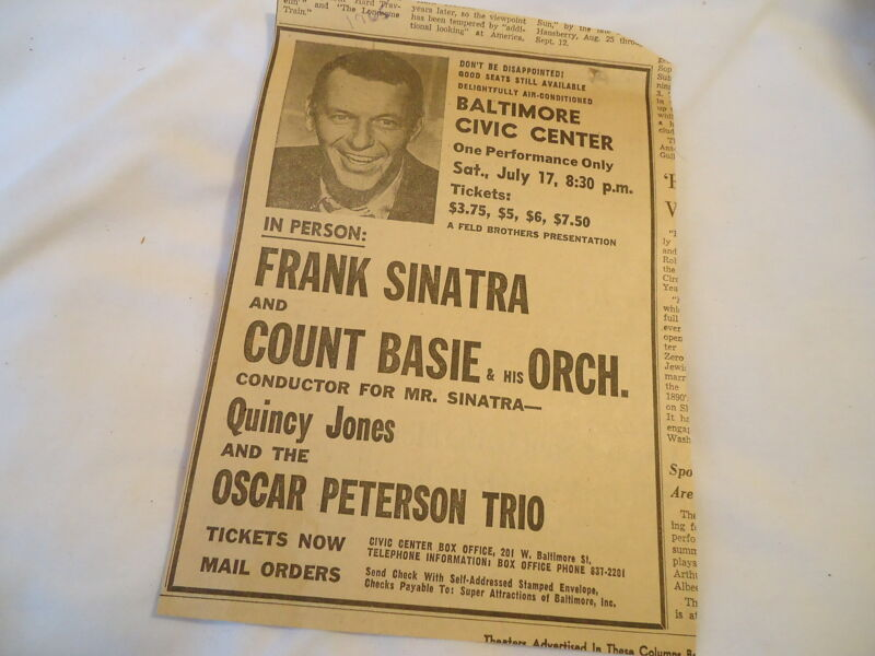 Frank Sinatra - concert Civic Center BALTIMORE MD  - 1965 newsprint ad