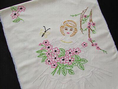 Vintage Handmade Embroidered Dresser Scarf / Table Runner Lady 50's Barbie Look