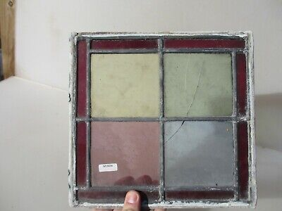 Antique Stained Glass Window Panel Old Antique Leaded Victorian CRACKED  10