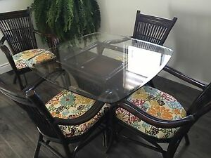 Rattan table and chair set.