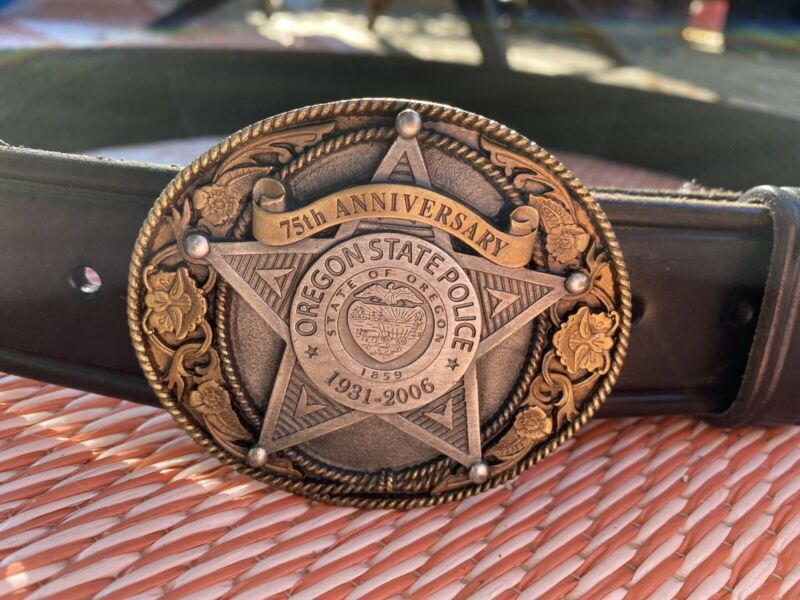 Vintage Oregon State Police 75th Anniversary Belt Buckle AE Nelson Leather 38