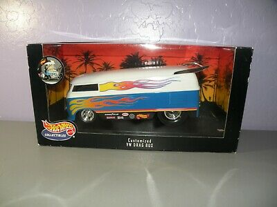 Hot Wheels Collectibles 1999 Customized VW Drag Bus White Blue Flames 1:18 NISB