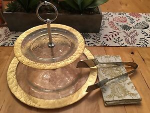 Beautiful 2 tier serving platter with gold accent