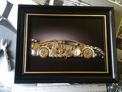 Aventador Art Steampunk Black Wood Frame Working Clock Approx 14x10 inches