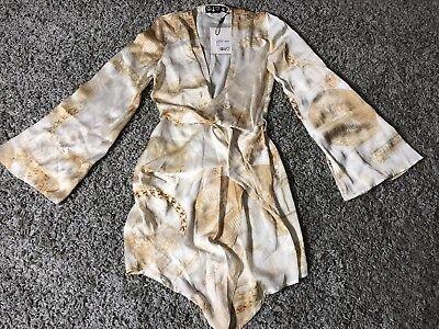 Missguided Gold Money Print Long Sleeve Kimono Wrap Dress  Us Size  2