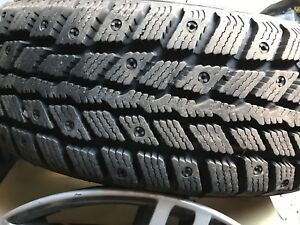 Winter tires on rims with covers