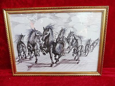 schönes Bild__Pferde__original Zeichnung__signiert_!